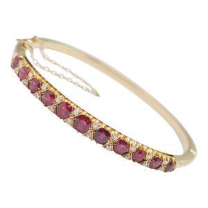 Victorian Ruby Diamond Gold Bangle