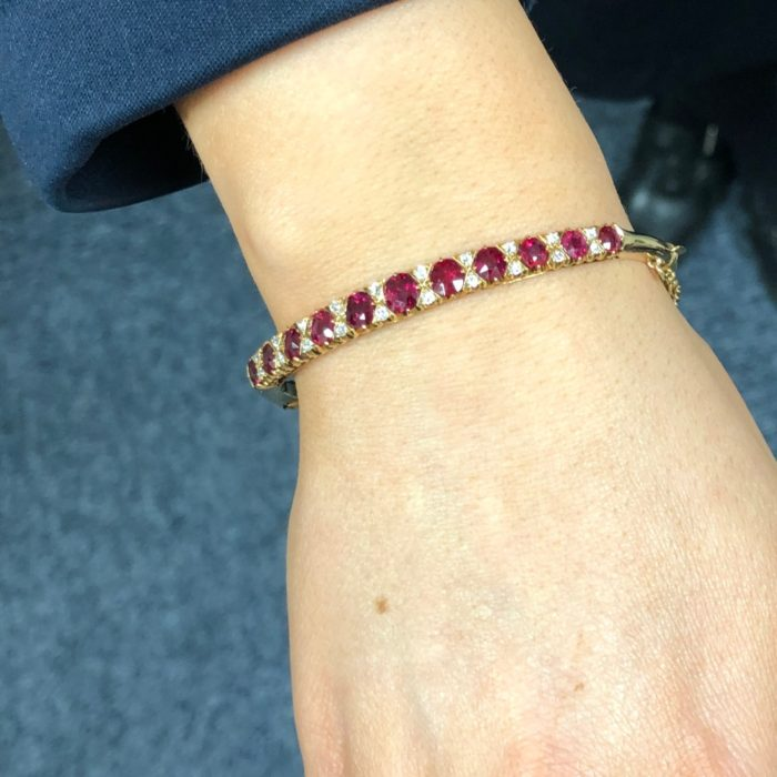 Victorian Ruby Diamond Gold Bangle