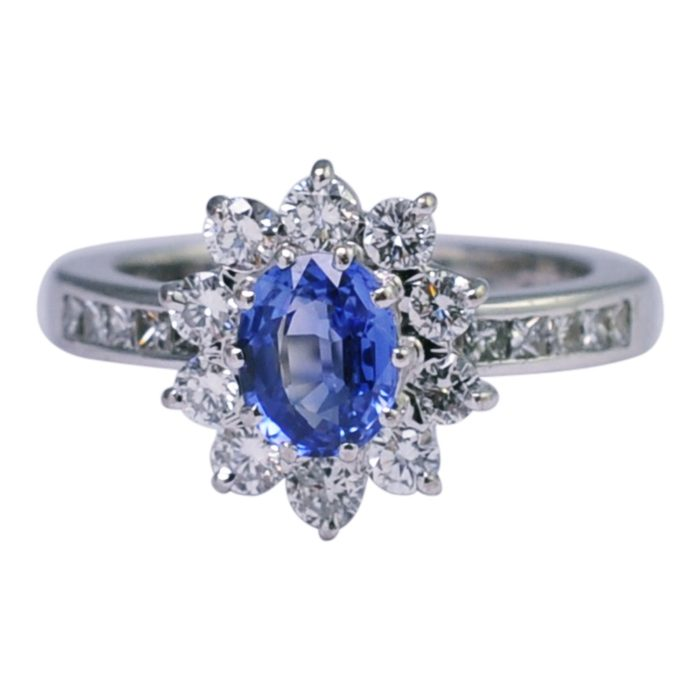 Boodles Sapphire Diamond Halo Ring