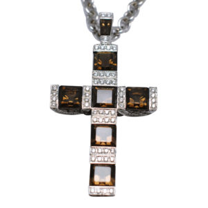 Garrard Smokey Quartz Diamond Gold Cross and Chain