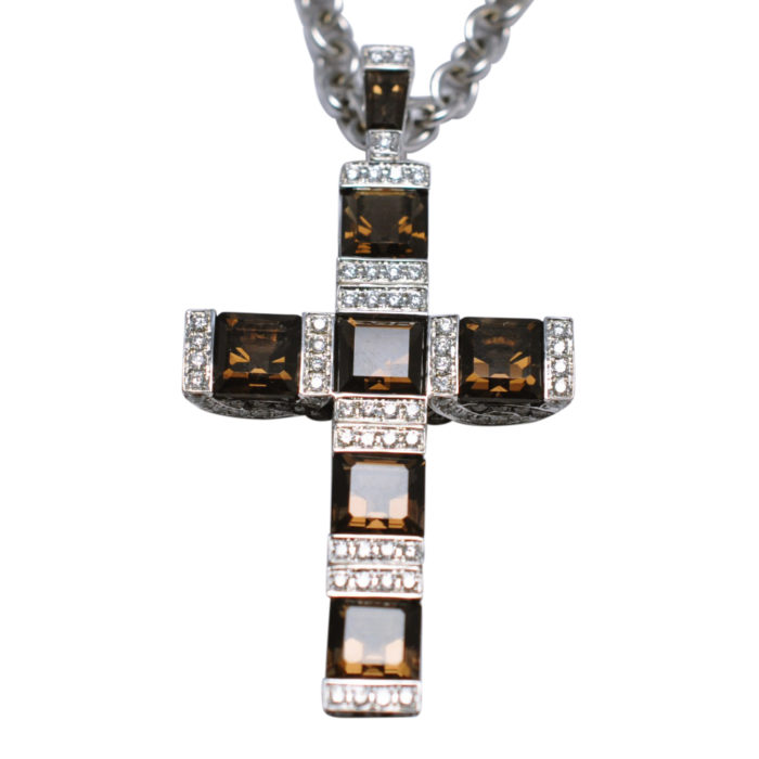 Garrard Smokey Quartz Diamond Gold Cross and Chain