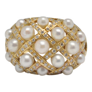 Diamond Pearl Quilted Gold Ring
