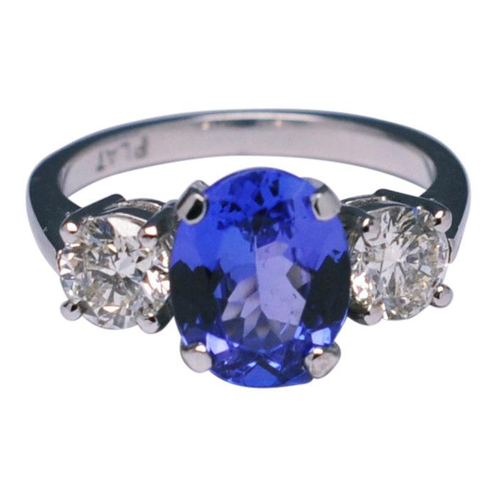 Tanzanite Diamond Trilogy Ring