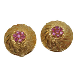 Gold Ruby Clip-on Earrings