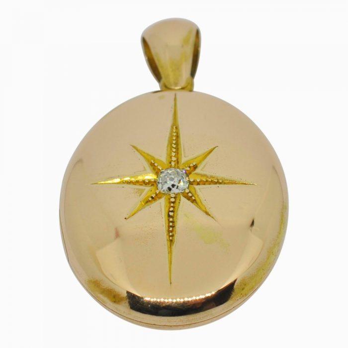 Victorian 15ct rose gold & diamond locket