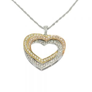 Diamond Entwined Hearts Gold Pendant