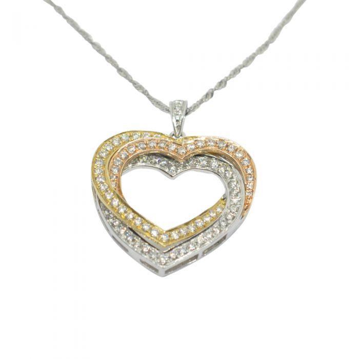 Diamond Entwined Hearts Gold Pendant