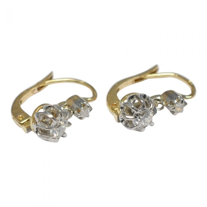 Antique French Dormeuse Diamond Earrings