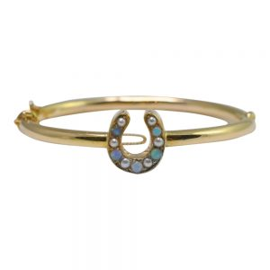 Victorian Opal, Pearl and 18ct Gold Horseshoe Bangle