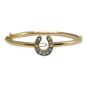 Victorian Opal, Pearl and 18ct Gold Horseshoe Bangle