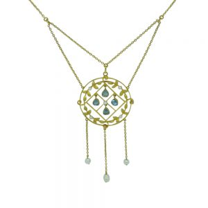 Edwardian Aquamarine, Pearl and 15ct Gold Pendant