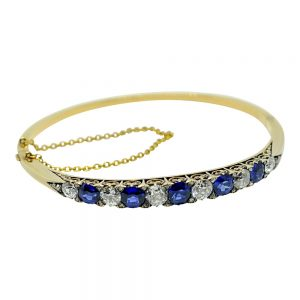 Antique Victorian Sapphire Diamond 18ct Gold Bangle