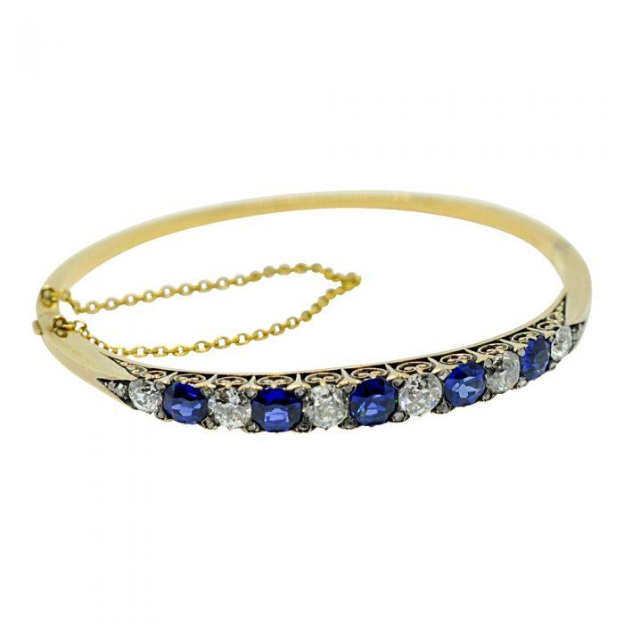 Antique Victorian Sapphire Diamond 18ct Gold Bangle