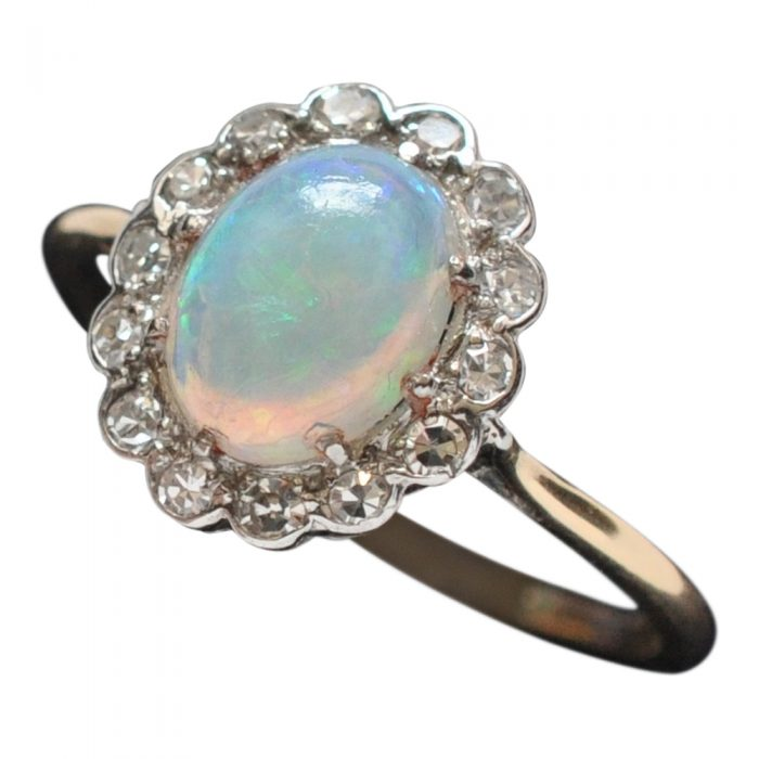 Antique Edwardian Opal Diamond Gold Ring