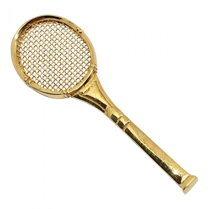14ct Gold Tennis Racquet Brooch