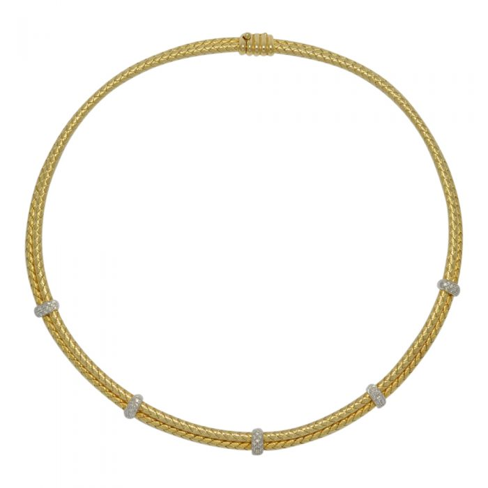 18ct Gold and Diamond Cable Necklace