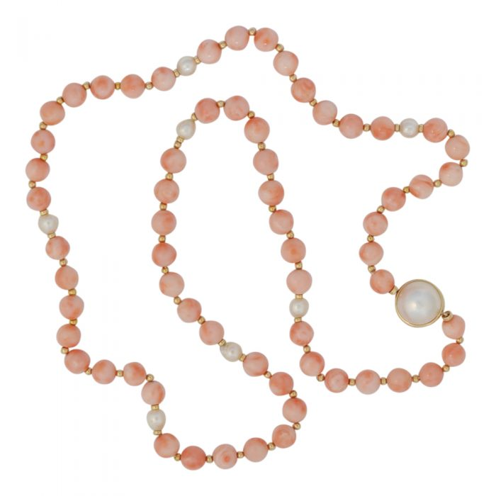 Angel Skin Coral Gold Pearl Necklace