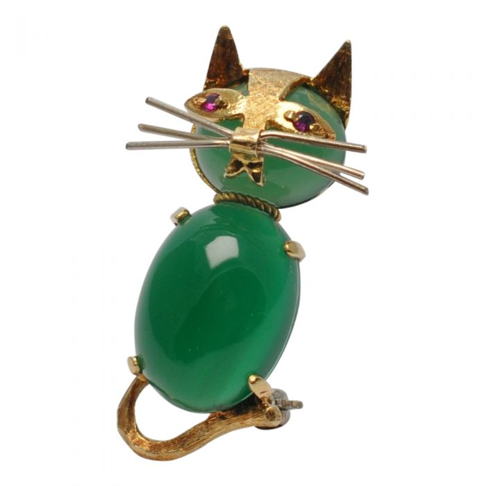 Novelty Chrysopase 18ct Gold Cat Brooch