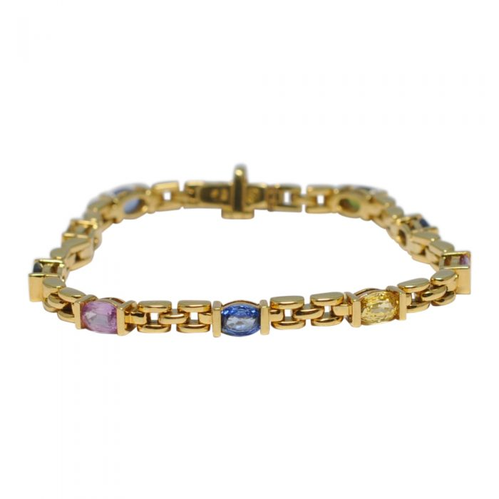 Multi Coloured Sapphire 18ct Gold Bracelet