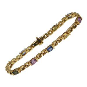 Multi Coloured Sapphire 18ct Gold Bracelet