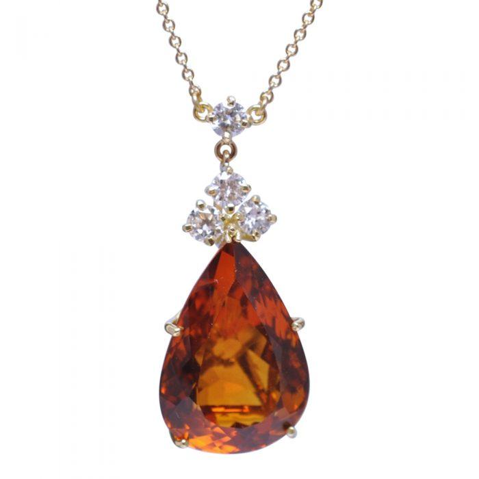 Citrine Diamond 18ct Gold Pendant