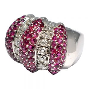 Ruby Diamond Candy Striped Gold Cocktail Ring