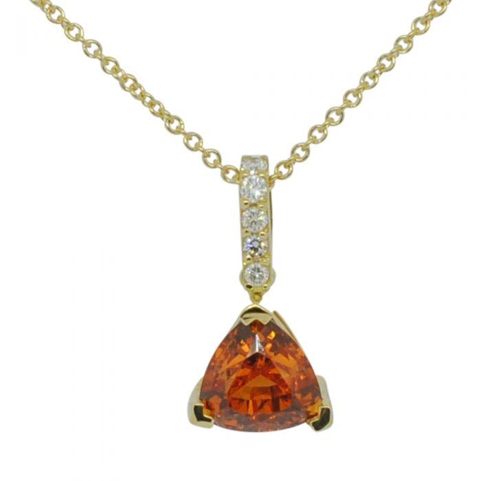 Mandarin Garnet Diamond Gold Pendant