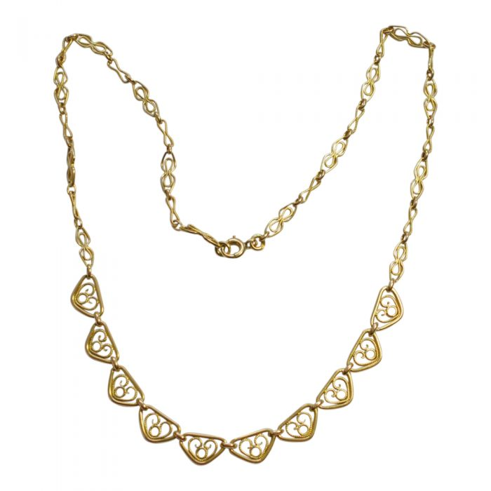 Antique French 18ct Gold Filigree Necklace