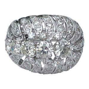 Mid Century Diamond Platinum Bombé Ring