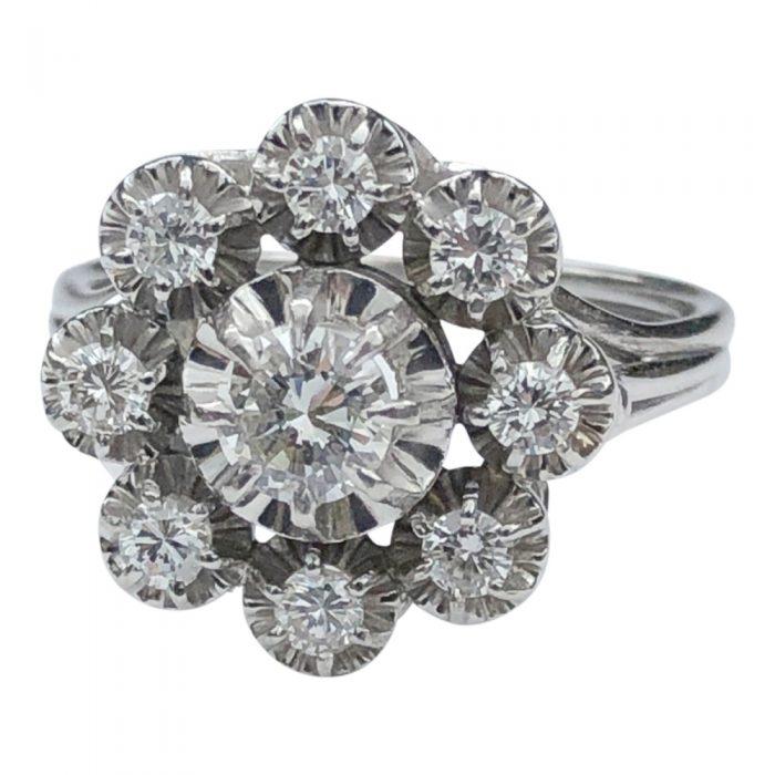 Mid Century Diamond Platinum Gold Halo Ring