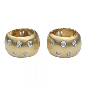 18ct Gold Diamond Hooped Earrings