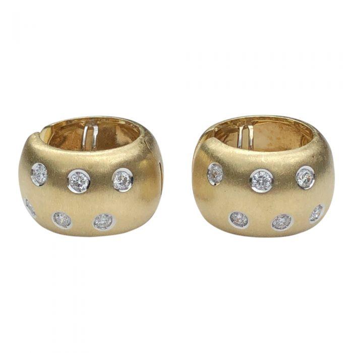 18ct Gold Diamond Hooped Earrings