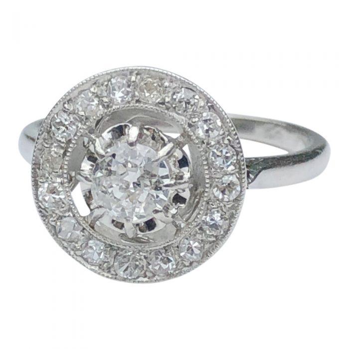Art Deco Diamond Platinum Target Ring