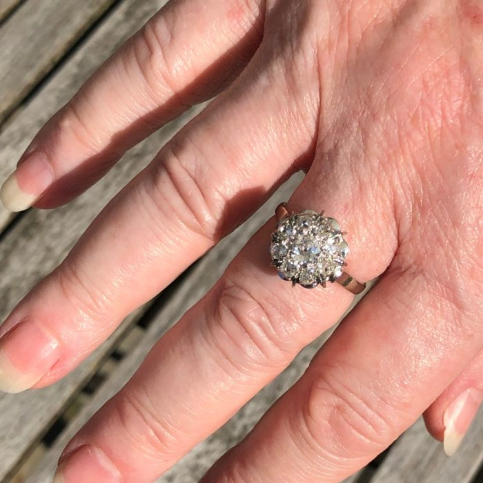 French 1930s Diamond Cluster Ring