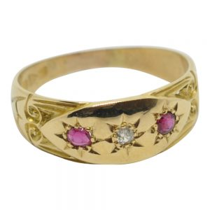Antique Edwardian Ruby and Diamond Wedding Ring