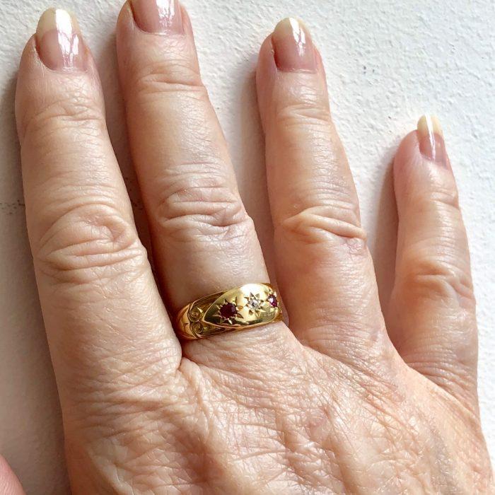 Antique Edwardian Ruby and Diamond Wedding Ring