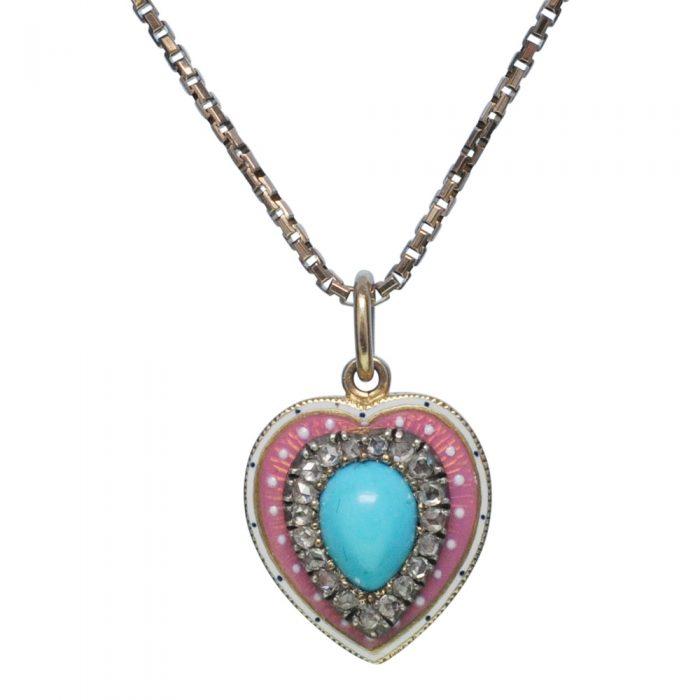 Victorian Turquoise Diamond Enamel 15ct Gold Heart Locket