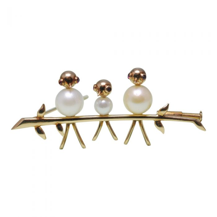 3 Birds on a Branch Pearl 18ct Gold Brooch