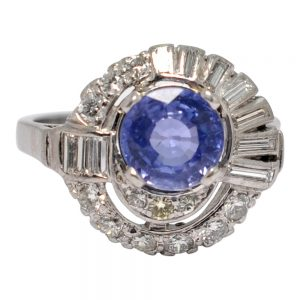 Mid Century Sapphire Diamond 14ct Gold Ring