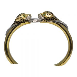 18ct Gold Diamond Enamel Leopard Bangle