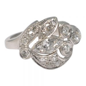 Asymmetrical Floral Diamond Platinum Ring
