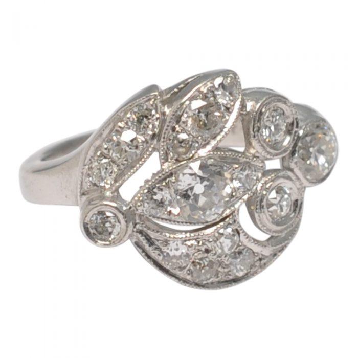 Asymmetrical Floral Diamond Platinum Ring