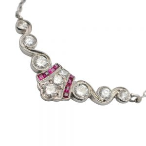 Art Deco Diamond Ruby Gold Necklace