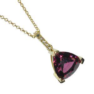 Rhodolite Garnet Diamond Gold Pendant