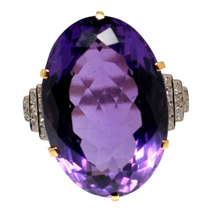 Amethyst Diamond 18ct Gold Cocktail Ring