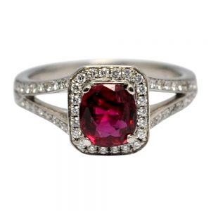 Ruby Diamond 18ct Gold Engagement Ring