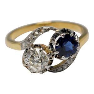 Sapphire Diamond Toi et Moi 18ct Gold Ring