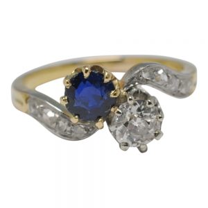 Antique Edwardian Sapphire Diamond Gold Ring