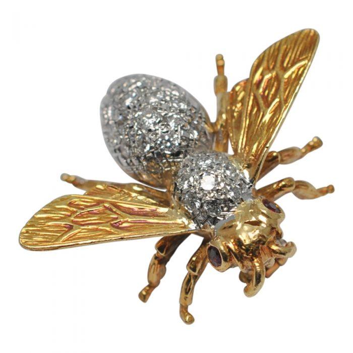Diamond Gold Bee Brooch