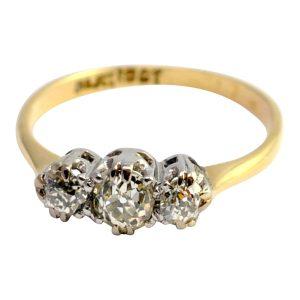 Edwardian Diamond 18ct Gold Platinum Engagement Ring